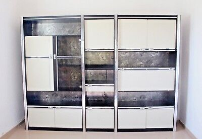 1960s Mid Century Space Age Laminate & Glass Vintage Unit Wall  Shelving System