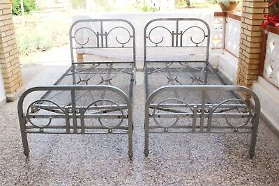 Vintage Art Deco Art Nouveau Single Nickel Chromed Bed Spain, 1920s, set of 2