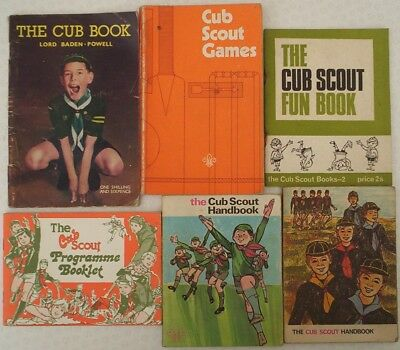 LOT 2. Six old CUB SCOUT books. Scouting. One by Lord Baden-Powell.