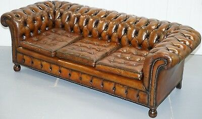 Fully Sprung Thomas Chippendale Restored Aged Brown Leather Chesterfield Sofa