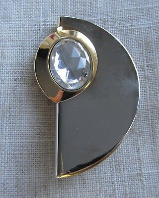 Vintage gold and silver tone abstract brooch 80's