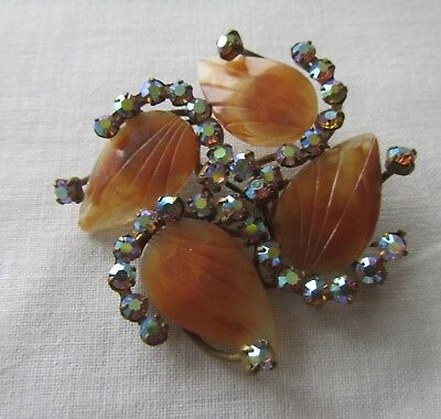 Vintage brass flower brooch with AB rhinestones and acrylic leaves
