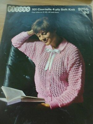 RARE VINTAGE 1960'S PATONS KNITTING PATTERN LADIES BED JACKET  36 - 42 in