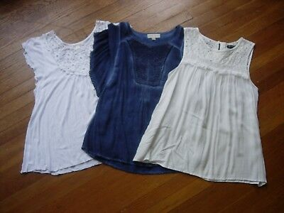 Lot Of 3 Womens Lacey Pretty Tops/blouses - Size M