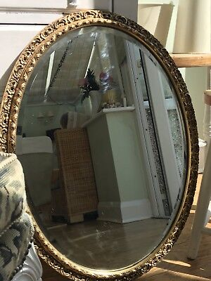 Large Antique Oval Bevelled Mirror