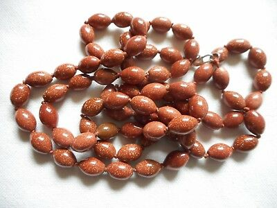 "Vintage goldstone GLASS knotted necklace, 48"", sterling clasp"