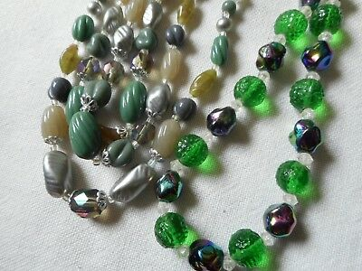 Vintage two green art glass choker necklaces