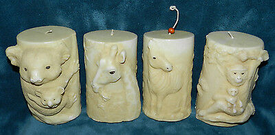 Set Of 4 Unused Sculpted African Jungle Animal Candles!!