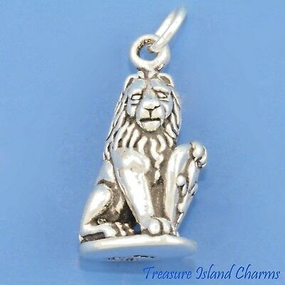 Marzocco Lion Fleur De Lis Florence Italy 3D .925 Solid Sterling Silver Charm