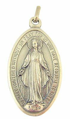 Silver Toned Base Oval Virgin Mary Miraculous Medal Pendant, 1 1/2 Inch