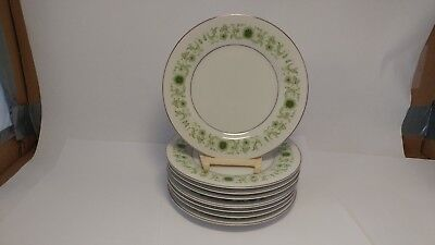 "Set of EIGHT Towne House Green Dale 3077 6 1/2"" Bread & Butter Plates"