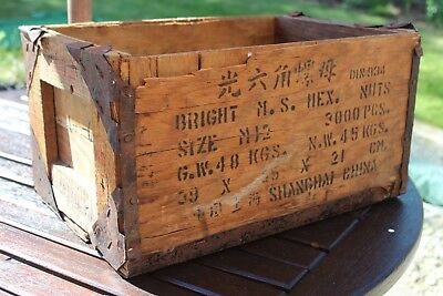 Vintage Wooden Box, Metal Banded Small Shipping Crate. Shanghai Import 1960s