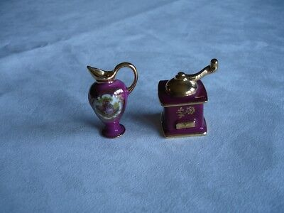 Limoges Miniature-Porcelain-Burgundy-Pitcher and Coffee Grinder