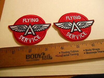 "2 Flying  Winged ""A"" Service Gas Station Iron on Patches"