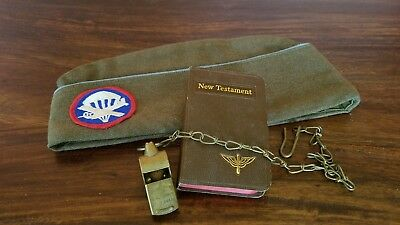 WWII Airborne ParaGlider Enlisted Garrison Cap, Signed Bible, Brass Whistle