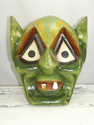 VTG Mexican Folk Art Tribal Mask Hand Carved Wooden Green Face with 2 Teeth