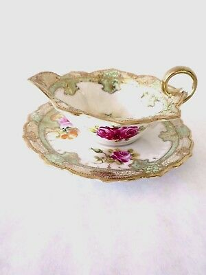Nippon China Gravy Boat w/ Underplate Roses Maple Leaf Mark