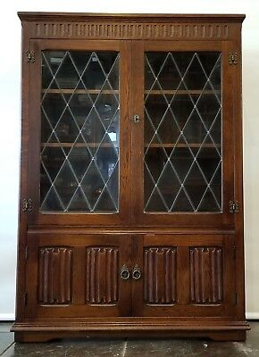 Priory, Bennet Woodworks, Manchester, Oak Tudor and Lead Glass Spanish Bookcase