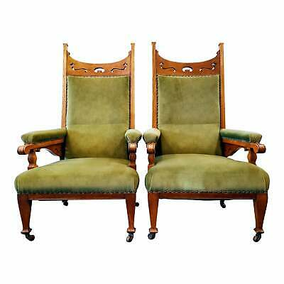 Mission / Aesthetic Movement / Arts & Crafts / Liberty Pair of  Armchairs