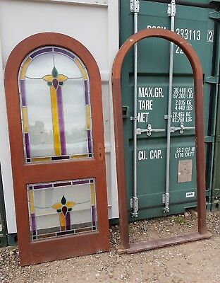 Solid wood arch top arched front door frame stained leaded glass glazed window
