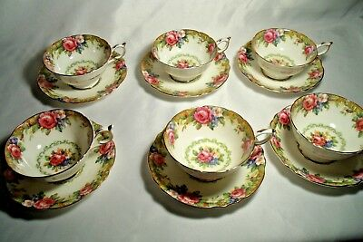 Paragon Tapestry Rose, Set of 6 Cups and Saucers