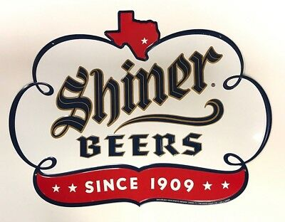 """Shiner Beers Since 1909 - Tin Metal Sign Embossed - Texas - NEW & F/S  24"""" x 18"""""""