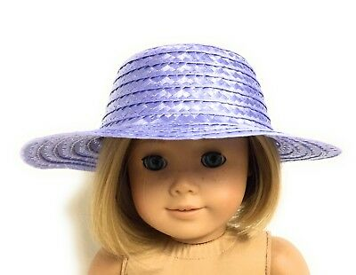 Lavender Straw Hat Accessories fits 18 inch American Girl Doll Clothes