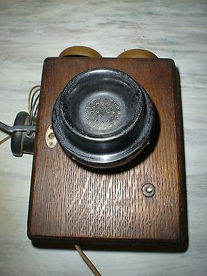 Antique 1907 Western Electric 293BC Tiger Oak Wall Phone With Ringer VGC