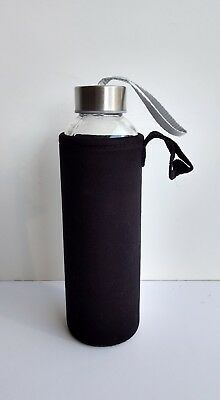 18oz glass water bottle with black insulated neoprene sleeve and carrying handle