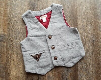 Cat & Jack Adorable Boys Tan Vest with Pocket and Brown Buttons - Size 2T