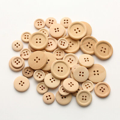 50Pcs Mixed Wooden Buttons Round 4-Holes Sewing Scrapbooking DIY Accessories