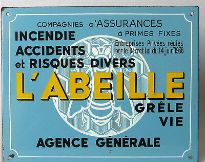 "Vintage French Blue Enamel Advertising Sign~ Insurance Co. - ""L'Abeille"" - Bee"