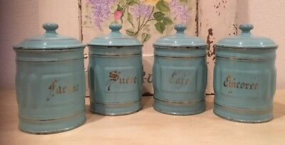 Antique Vintage French Enamel 4 Piece Canister Set ~ Tiffany Blue Gold Lettering
