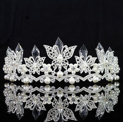 Butterfly White Pearls Austrian Crystal Rhinestone Tiara Crown Bridal Prom T21