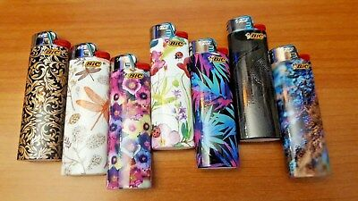 Lot of 7 BIC FULL SIZE Cigarette Lighters - FASHION Special Designs Series - NEW