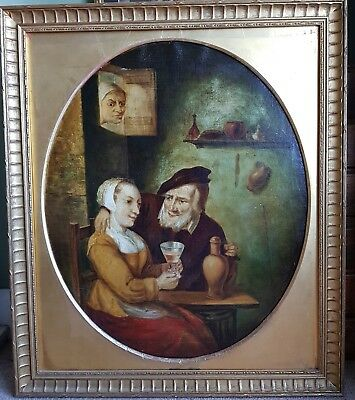 Large antique 19th Century Dutch fine oval framed interesting oil painting 1800s