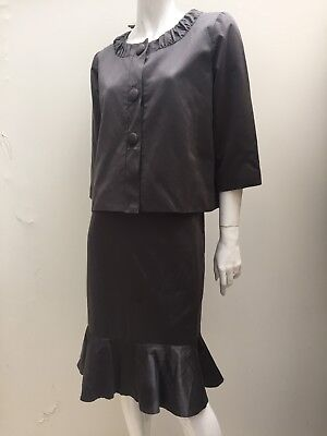 Jacqui E sz 12 2pc Sateen Skirt & Jacket Suit Set