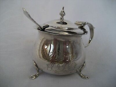 Solid Silver Mustard Pot With Liner & Spoon