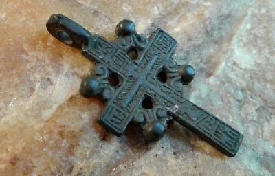 "Antique 18-19Th Century Smaller Orthodox ""old Believers"" Ornate ""sun"" Cross"