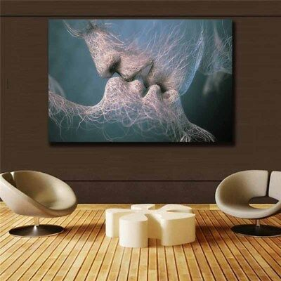 Love Kiss Abstract Art on Canvas Painting Wall Art Picture Prints Modern Decor