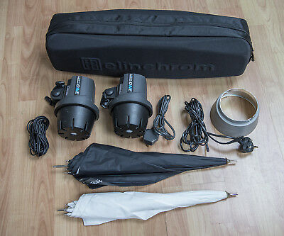 Elinchrom D-Lite RX One 2-head kit with stands, brollies, bags etc