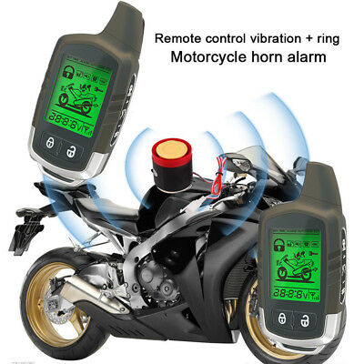 2 Way LCD Remote Engine Start Motorcycle Anti-theft Alarm System Immobiliser Kit