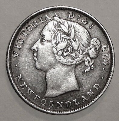 1894 Newfoundland Canada 20 Cent Queen Victoria Sterling Silver Coin Nice