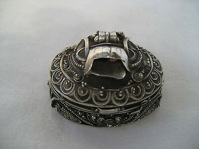Egyptian Solid Silver Scarab Box