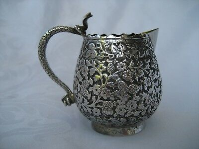 Antique Indian Silver Jug With Cobra Handle.