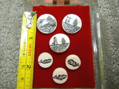 Scrimshaw Blazer Buttons Set of 6 Nautical Maritime Ships Lighthouse and Whales