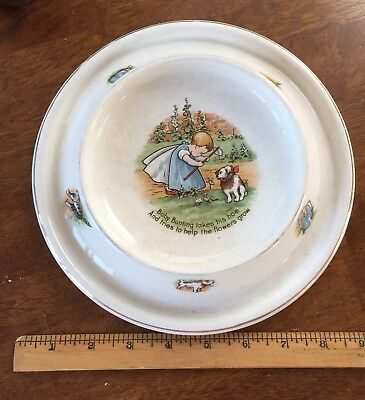 Antique Baby Plate, 1905 Royal Baby Plate Baby Bunting Planting Flowers. Awesome