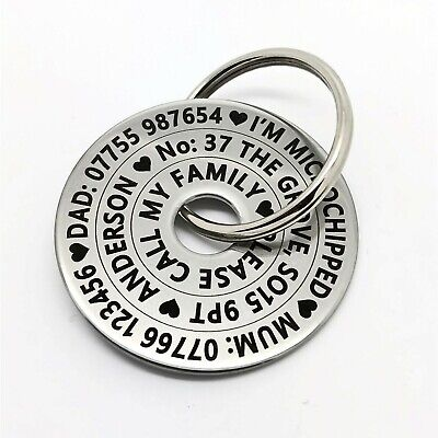 Funky Large Pet Dog ID Disc Tag Tags- Stainless steel polo washer FREE ENGRAVING