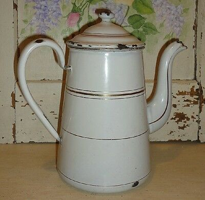 Classic White Vintage French Enameled Coffee Pot ~ Gold Horizontal Bands
