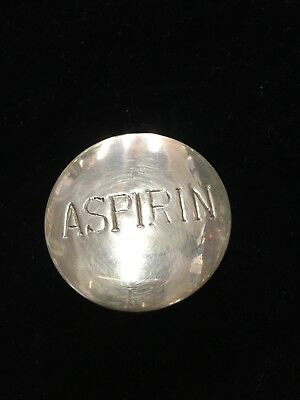 Vintage antique solid Brass Aspirin Pill box case lid round metal
